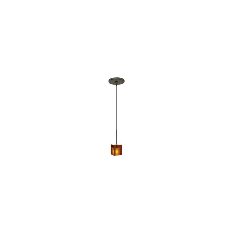 Tech Lighting Cube Amber Glass Bronze Mini Pendant