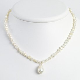 Sterling Silver White Freshwater Cultured Pearl Necklace - QH2464-18