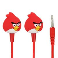 Techwich Angry Bird Style 3.5mm Plug in-Ear Earphone - Red (with Clip Mic)