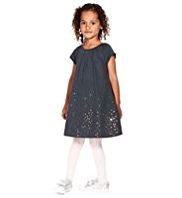 2 Piece Cotton Rich Sequin Embellished Dress & Tights Outfit