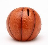 Cosmos 10514 Fine Porcelain Basketball Piggy Bank, 4-1/4-Inch