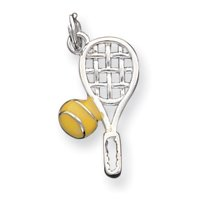 Sterling Silver Enameled Tennis Racquet Charm - JewelryWeb