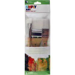 Bulk Buy: Loew-Cornell (3-Pack) Simply Art Large White Nylon Flat Brush Set 3/Pkg 3/4\', 1\' & 2\' 1024274