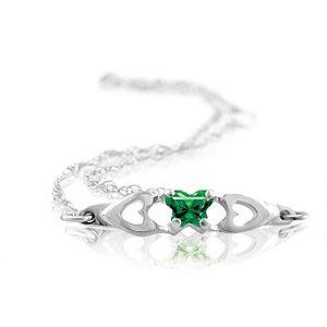 Genuine IceCarats Designer Jewelry Gift 10K White Gold Bfly Cz Birthsto Brc W/Box. May Brc W/Box Bfly Cz Birthsto Brc W/Box In 10K White Gold