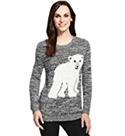 M&S Collection Cotton Rich Polar Bear Jumper