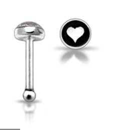 Black White Sterling Silver 6 mm Straight Nose Pin Stud Ball End