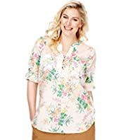 Plus Open Neck Collar Fluro Floral Top