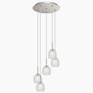 Eglo Lighting 200577A Lorcasa - Five Light Pendant, Matte Nickel Finish with Satin/Clear Glass modern pendant lights kitchen for home decoration lighting bar elegant light postmodern golden celling lamp clear glass lamps
