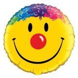 "Yellow Smiley Face Clown Colorful Hair & Red Nose 18"" Mylar Foil Balloon Party - 1"