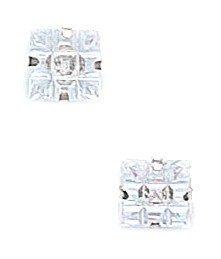 14k White Gold 6x6mm 9 Segment Square CZ Light Prong Set Earrings - JewelryWeb