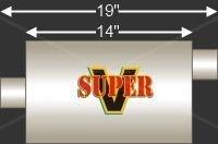 """Flo-Pro V43042 Universal Oval Super V Series Muffler Inlet 3"""" Outlet 3"""""""