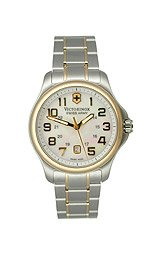 Victorinox Swiss Army Officer's Two-Tone Bracelet White Mother-of-Pearl Dial Women's Watch #241364