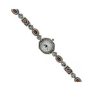 sterling silver marcasite genuine garnet watch