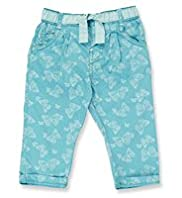 Autograph Pure Cotton Butterfly Print Chinos with Belt