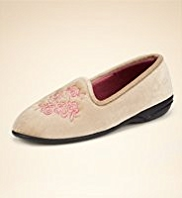 Classic Rose Embroidered Pump Slippers