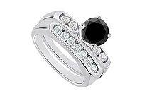 Black White Diamond Engagement Ring with Wedding Band Sets 14K White Gold 0.90 CT TDW