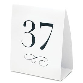 Table Number Tent Style Card - Numbers 1-12