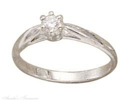 Sterling Silver Cubic Zirconia Engagement Or Wedding Ring Size 6
