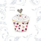 A Diamante Cup Cake Baby Shower Greeting Card