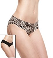 2 Pack No VPL Animal Print Brazilian Knickers