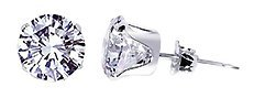Sterling Silver 2mm Round Cubic Zirconia Post Friction Back Stud Earrings