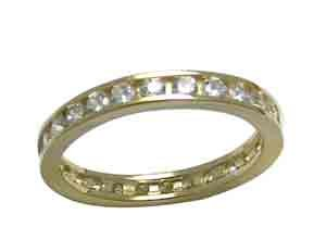 Size 5 1/2 Eternity Channel Cubic Zirconia Band 14k Yellow Gold Ring