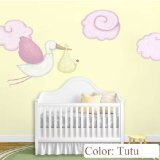 My Wonderful Walls Flying Stork Decal and Cloud Wall Stickers for Baby Nursery, Tutu