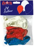 Balloons 10 Red/ White / Blue mix pk24