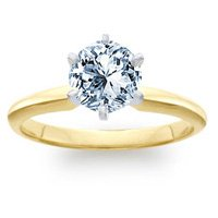 1.00 Carat G/SI1 Round Certified Diamond Solitaire Engagement Ring in 18ct Solid Yellow Gold