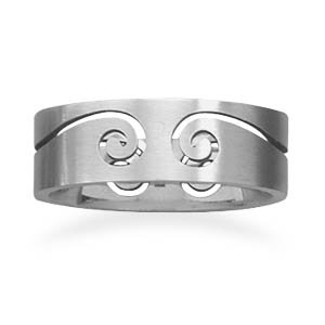 Stainless steel ring with cut out design.