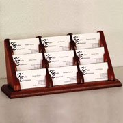 Wooden Mallet 9-Pocket Countertop Business Card Holder, Light Oak