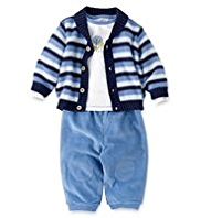 3 Pack Striped Cardigan, T-Shirt & Trousers Outfit