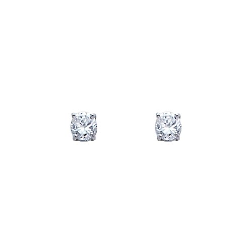 14K White Gold 3mm Round CZ Solitaire Basket Stud Earrings with Screw-back for Children and Women