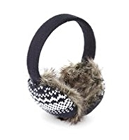 Faux Fur Fair Isle Knitted Ear Muffs