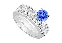 14K White Gold Tanzanite and Diamond Engagement Ring with Wedding Band Set 1.30 CT TGW MADE IN USA
