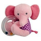 Carter's Just One You Pink Plush Elephant Ring Rattle - 1