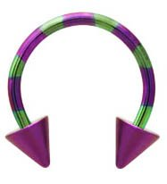 Purple pink & Green stripe  Spike Beads Anodized
