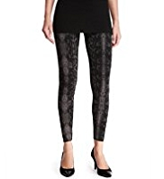 M&S Collection Cotton Rich Faux Snakeskin Print Leggings