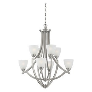 Thomas Lighting TK0007217 Charles - Eight Light 2-Tier Chandelier, Brushed Nickel Finish with Etched Glass