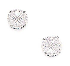 14k White Gold 6mm Round Segmented CZ Screwback Earrings - JewelryWeb