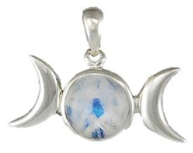 Sterling Silver Small Rainbow Moonstone Triple