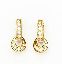 14ct Yellow Gold 1.5 mm Round CZ Petite Hinged Earrings