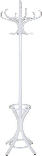Headbourne 8001 Floor Standing Hat and Coat Rack with Umbrella Stand, Solid Wood with White Finish