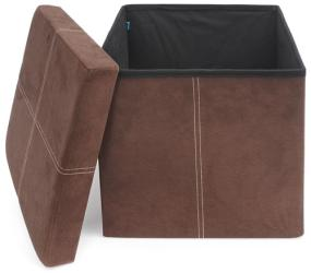 FHE Group microsuede storage ottoman with top removed