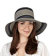 Wide Brim Striped Plaited Hat