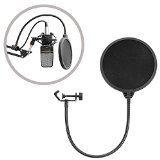 NEEWER® Black Studio Clamp On Microphone Pop Filter Gooseneck Mic Wind Screen Mask Shied