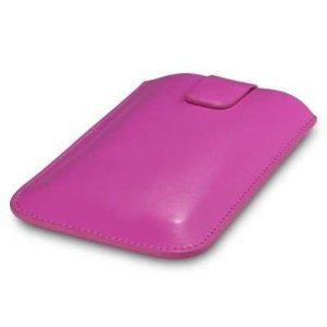 HTC SENSATION PINK LEATHER PULL OUT TAB POCKET POUCH CASE COVER
