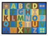 "Joy Carpets Kid Essentials Early Childhood Oversize Alphabet Rug, Earthtone, 5'4"" x 7'8"""