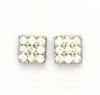 14ct White Gold 2.5 mm Round CZ Square Design Earrings
