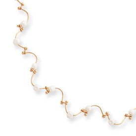16in Gold-plated Floating Pearl Wave Necklace - KW165-16